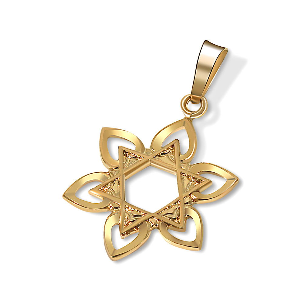 Star of david 14k gold with hearts for Star of david jewelry wholesale